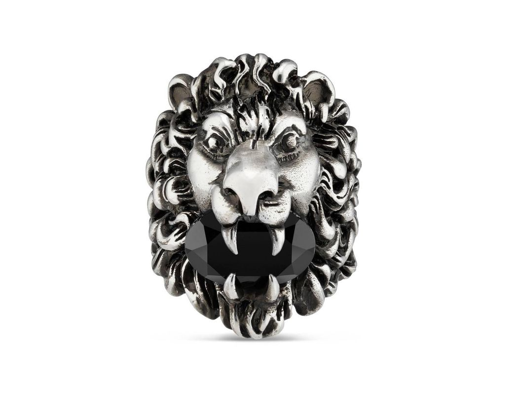 2ab946f0dc0 Lyst - Gucci Lion Head Ring With Crystal in Black for Men