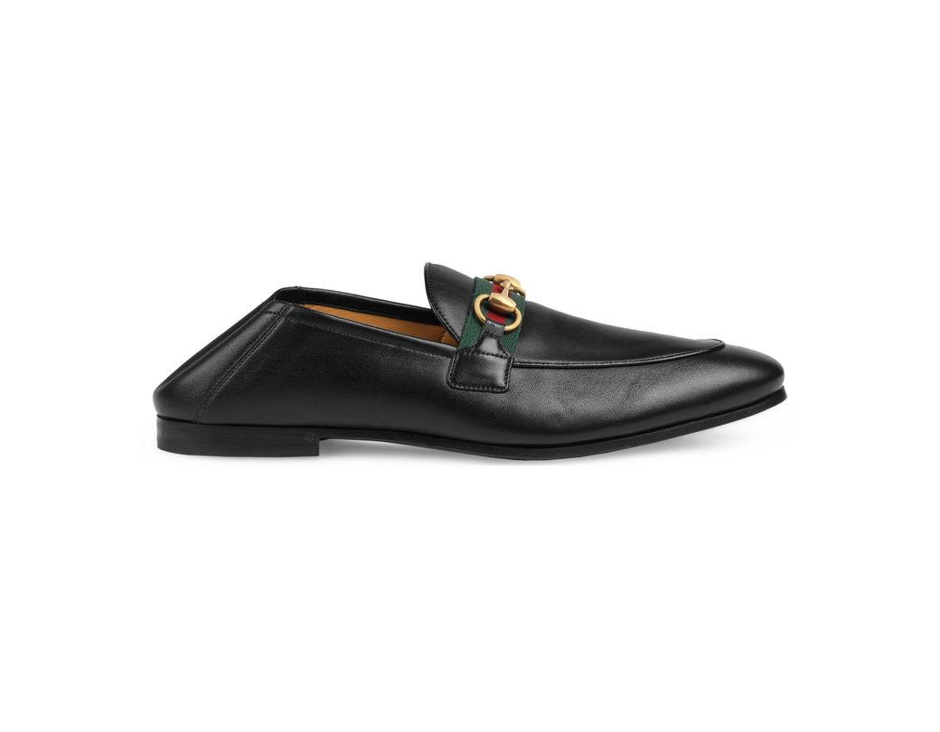 c8a0e3e7be449 Gucci Men's Leather Horsebit Loafer With Web in Black for Men - Lyst