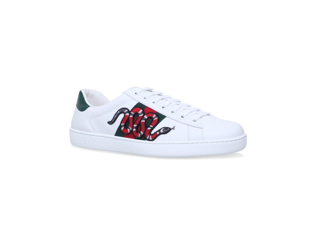 786fc42e947 Lyst - Gucci New Ace Embroidered-snake Leather Trainers in White for ...