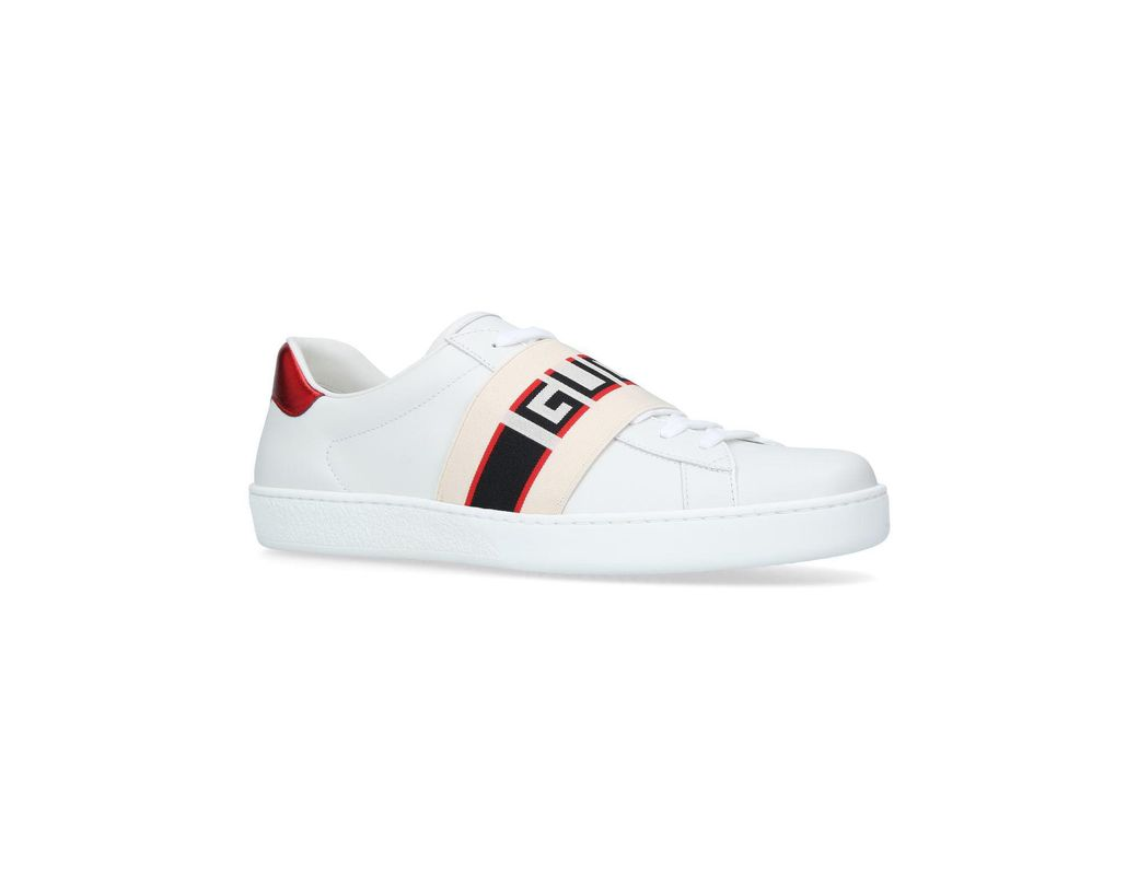 25e21e30fa7 Lyst - Gucci White New Ace Elastic Band Sneakers in White for Men - Save 6%
