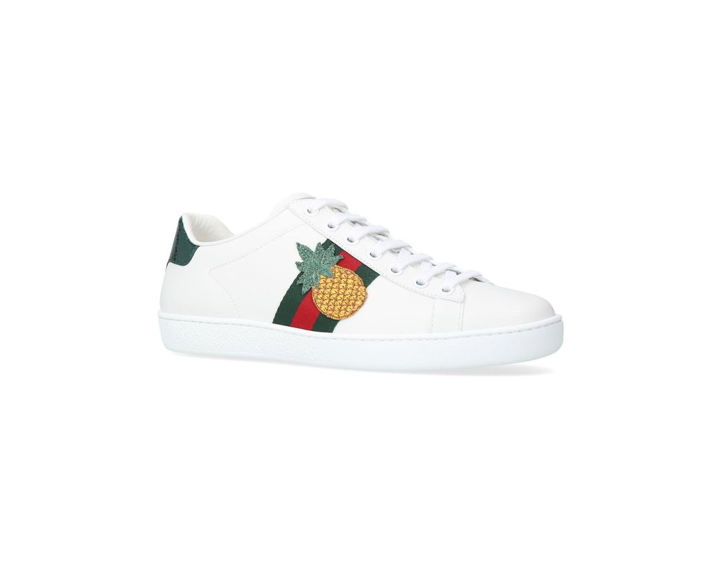 37b4ef257c1 Gucci New Ace Pineapple Sneakers in White - Lyst