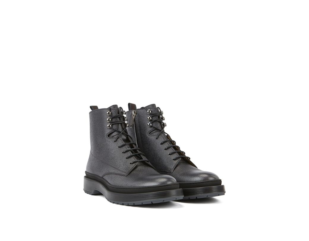 fd42f825676 Men's Gray Lace-up Boots In Scotch-grain Leather With Contrast Lug Sole