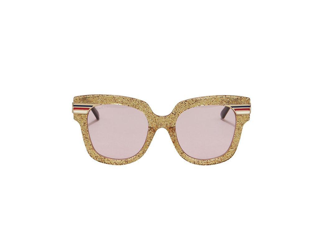ba51eafc601 Lyst - Gucci Gold Glitter Pink Lens Sunglasses in Metallic