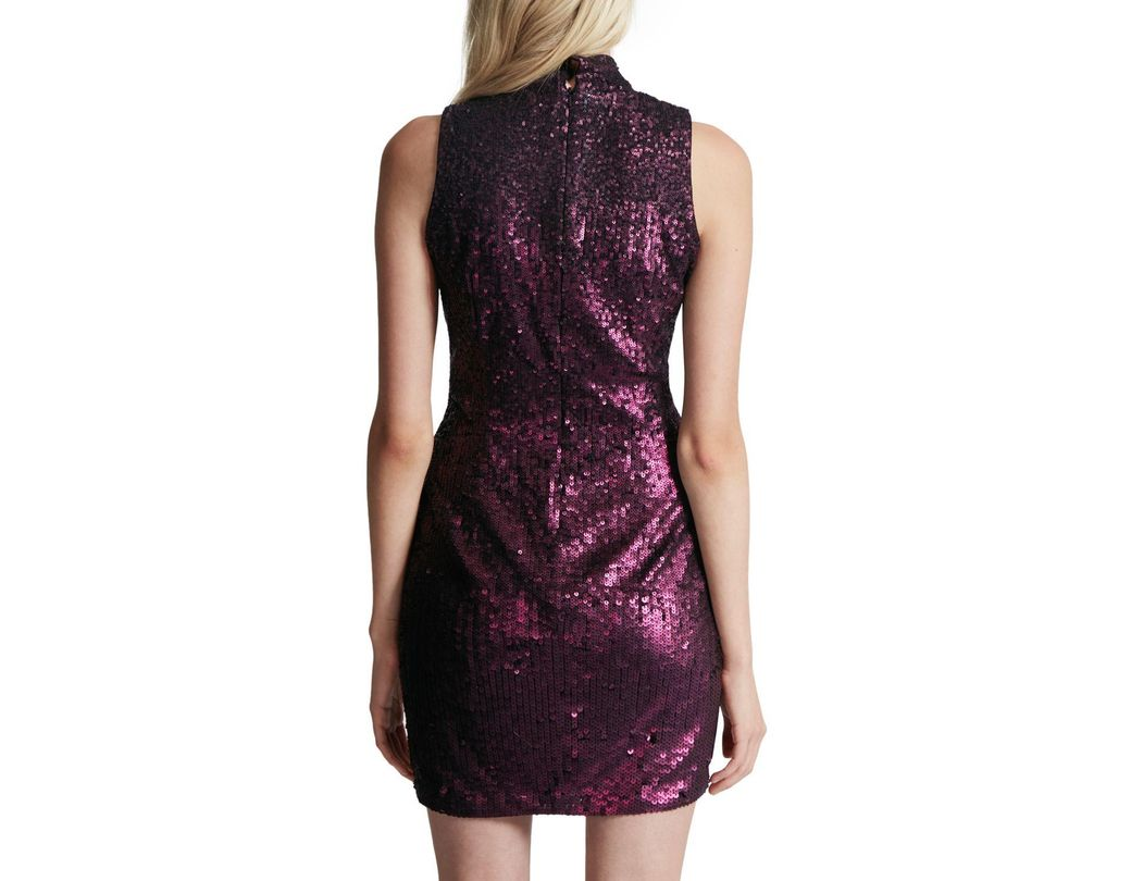 dd3a7218 French Connection Starlight Sparkle High Neck Sequin Dress in Purple - Lyst