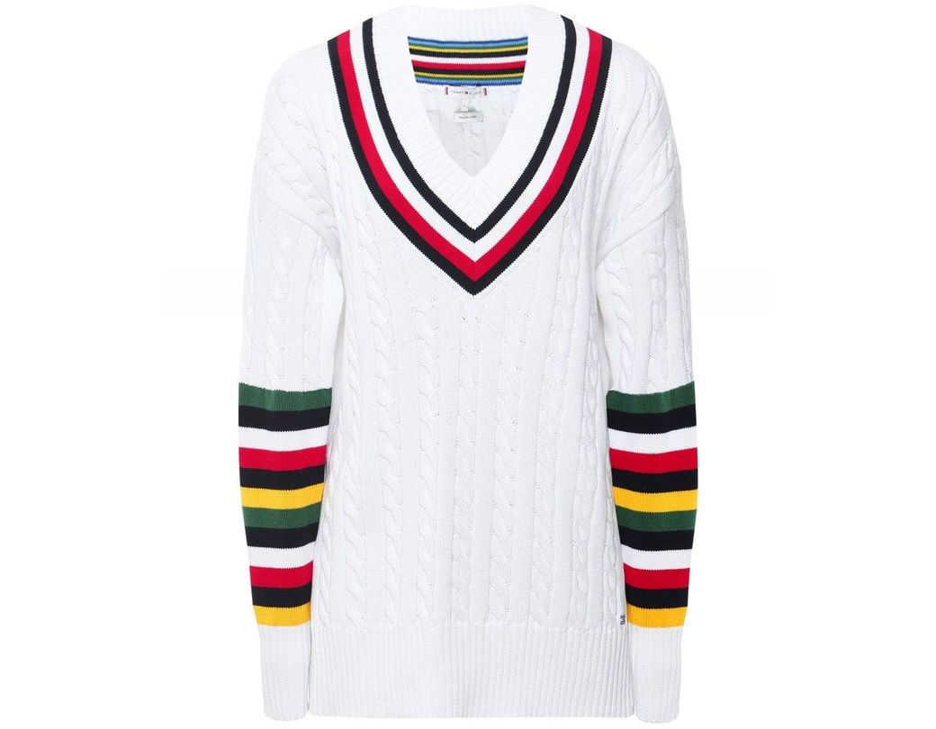 1140b55cbb3e Tommy Hilfiger Cable Knit Cricket Jumper in White - Save 22% - Lyst