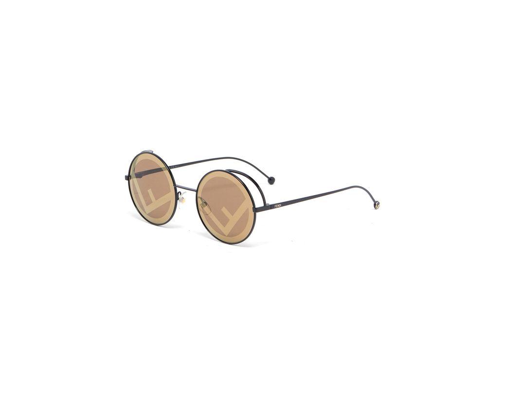 217a5c6675a Fendi Round Metal Logo Sunglasses in Black - Save 9% - Lyst