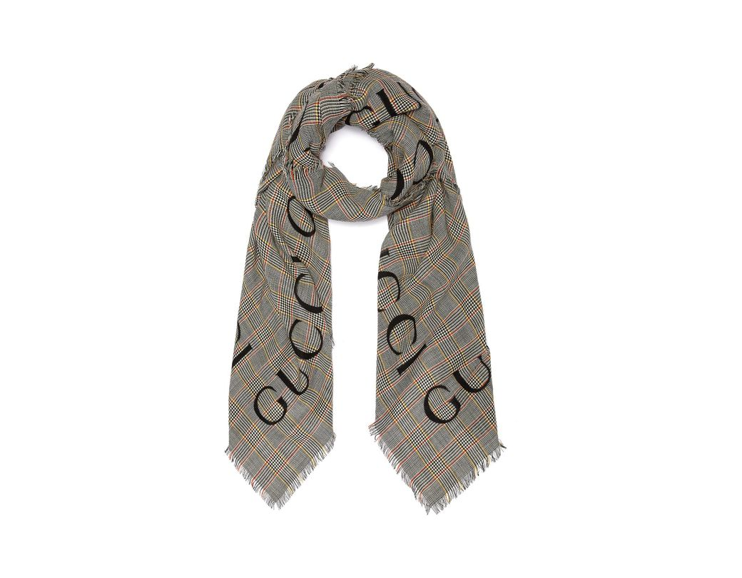 e3a59fa1a4e Gucci. Women's Logo Jacquard Houndstooth Check Plaid Wool Scarf