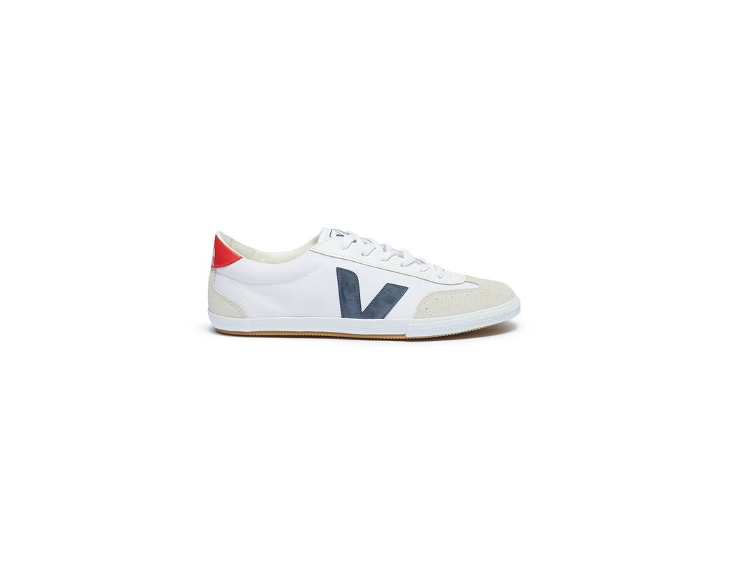 cd4092cf2425 Lyst - Veja  volley  Suede Panel Organic Canvas Sneakers in White ...