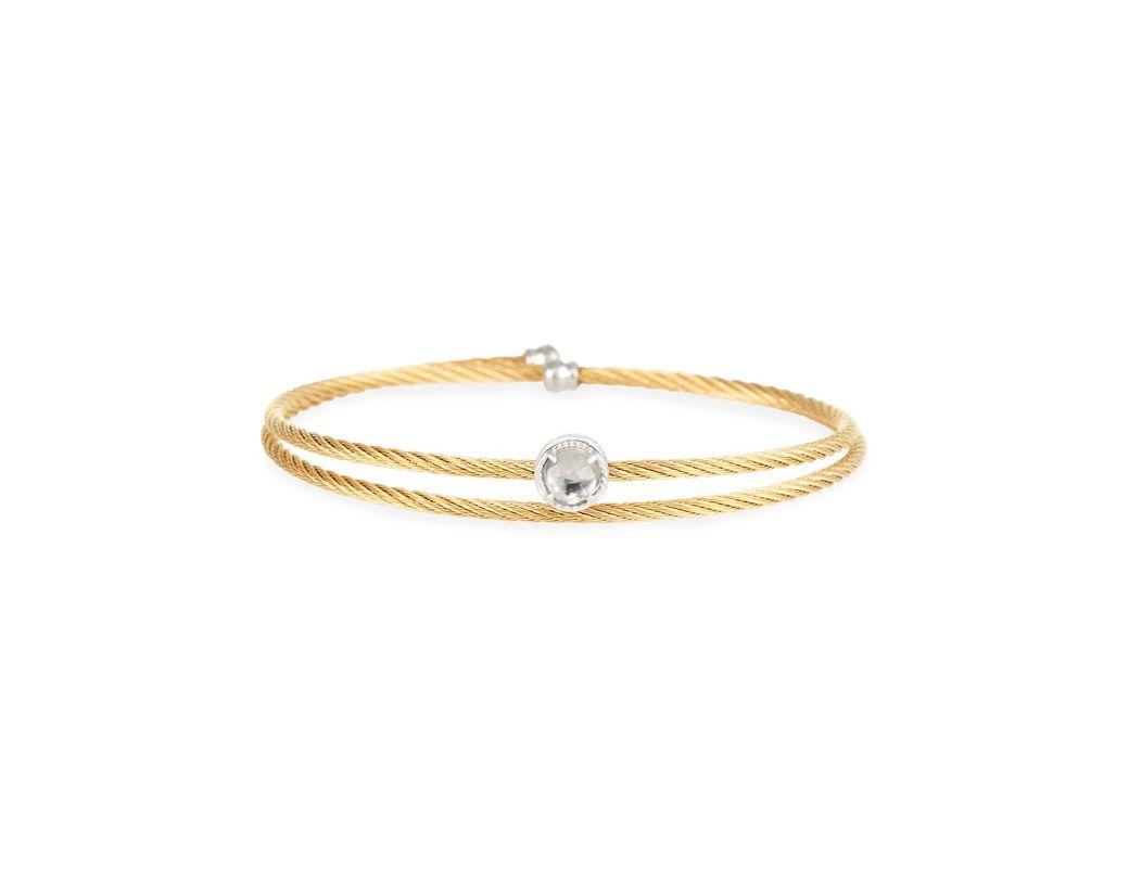 6552f017896 Alor. Women's Yellow Cable Single-wrap Bangle Bracelet With White Topaz