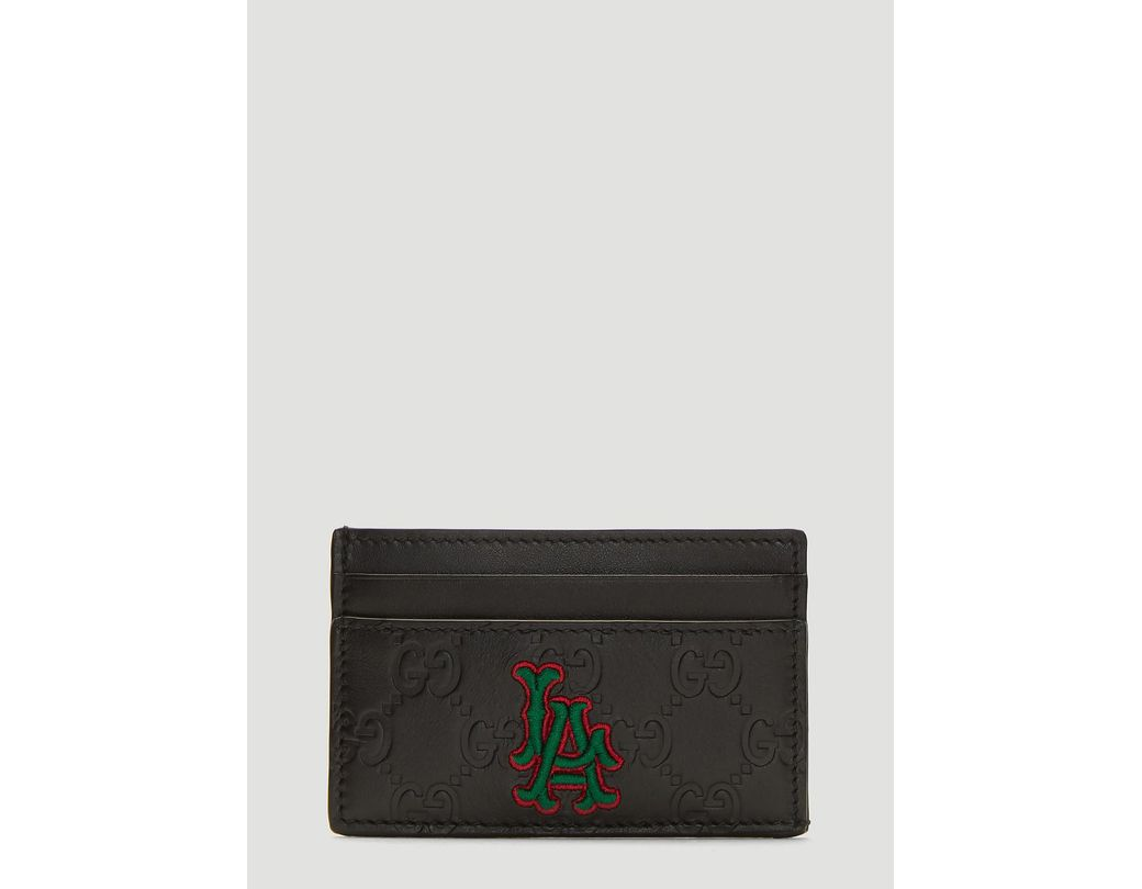 9a3920faed5 Lyst - Gucci Black La Angels Edition GG Card Holder in Black for Men ...