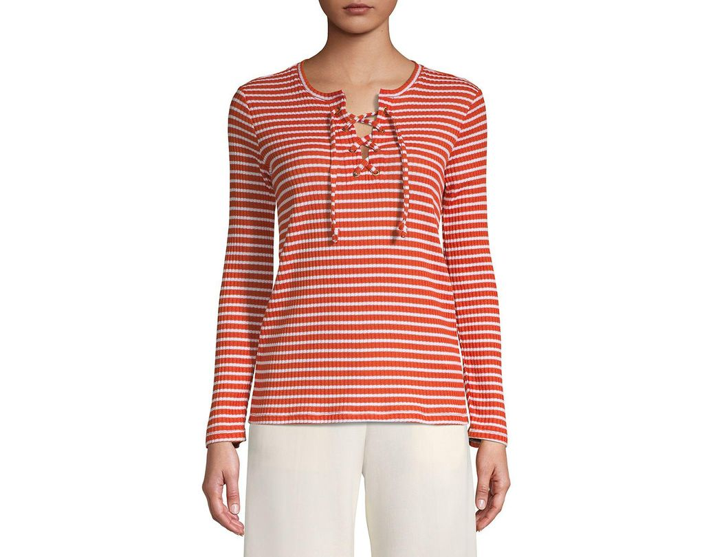 aca65fea278 Lyst - MICHAEL Michael Kors Petite Striped Lace-up Top in Red