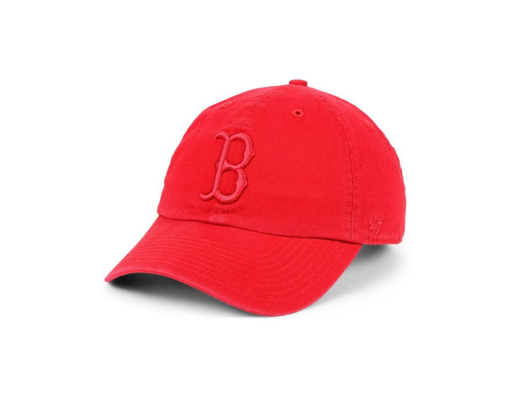 half off 939aa de459 Lyst - 47 Brand Boston Red Sox Tonal Clean Up Strapback Cap in Red ...