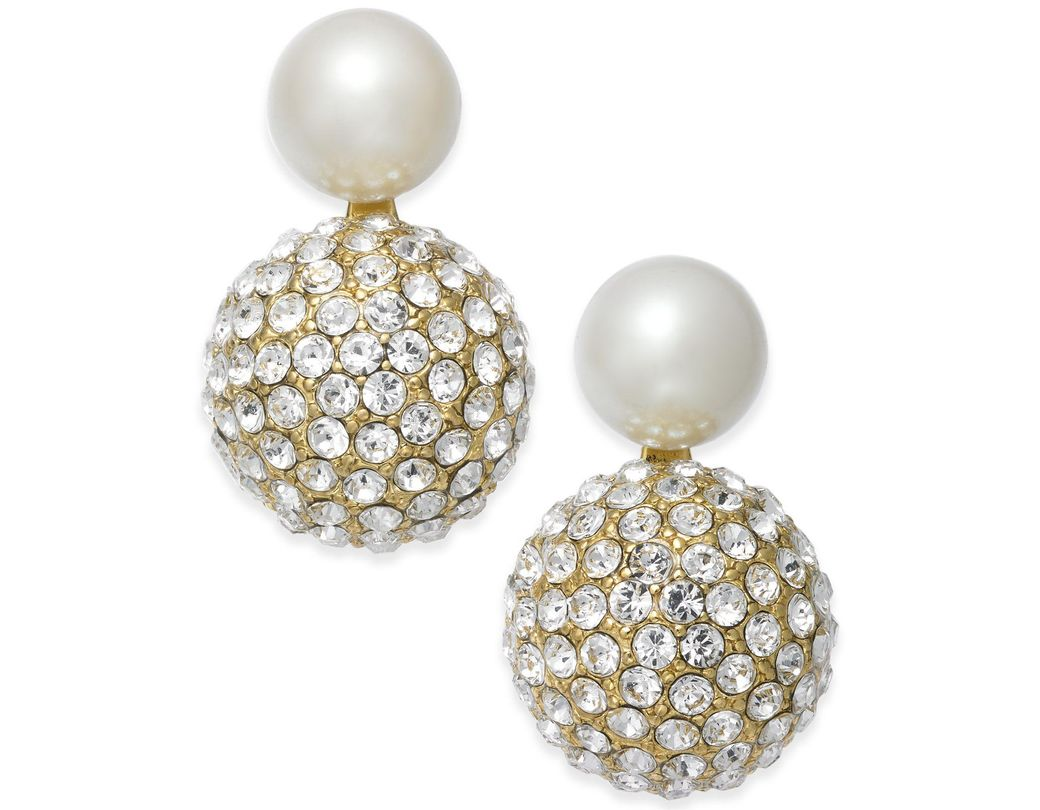 61f5e36204782 Kate Spade Gold-tone Imitation Pearl And Fireball Drop Earrings in ...