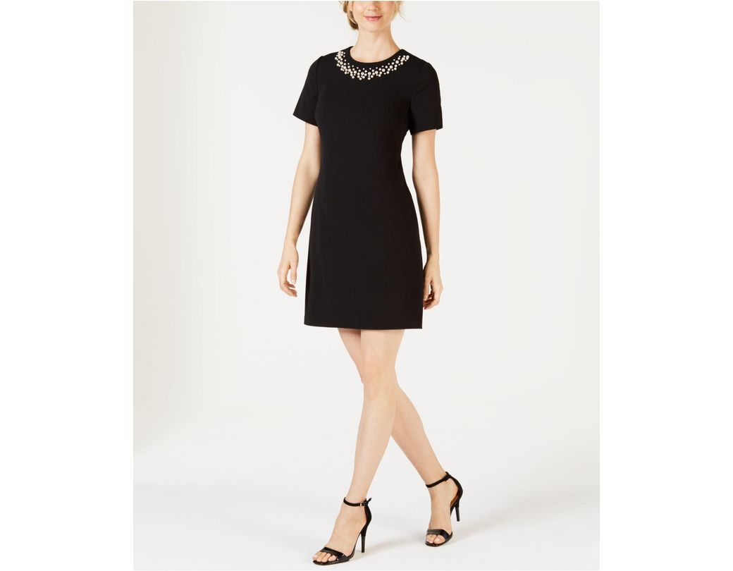6c1042d86f1 Lyst - Calvin Klein Embellished Sheath Dress in Black