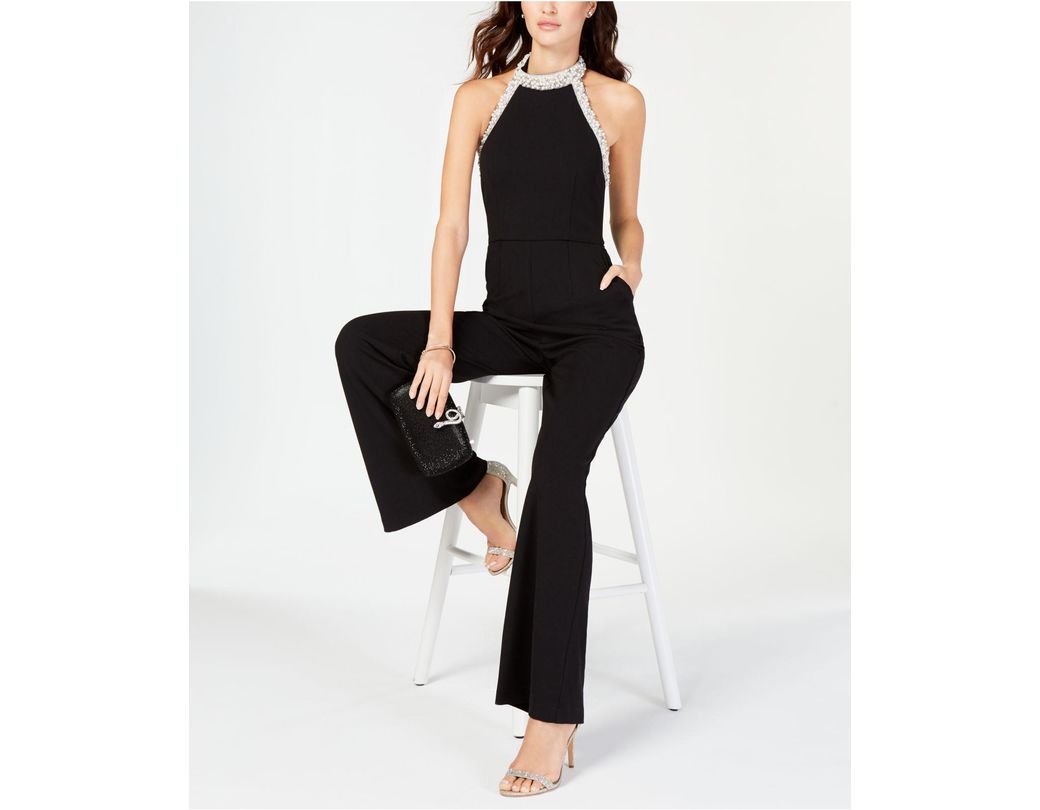 1409fe8c6f09 Adrianna Papell Beaded-halter Jumpsuit in Black - Save 40% - Lyst