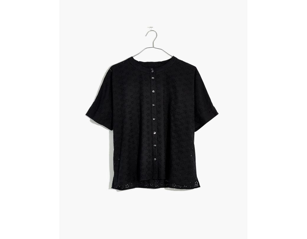 c6cef88e Madewell Eyelet Boxy Button-down Shirt in Black - Lyst
