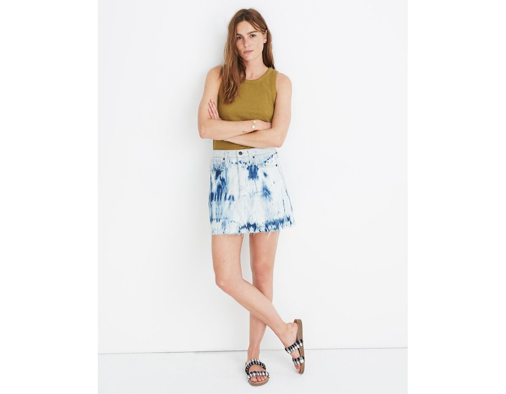 90e428e045 Madewell Rigid Denim A-line Mini Skirt: Tie-dye Edition in Blue - Lyst