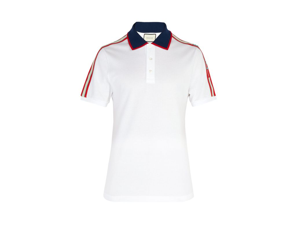 462ef79454a Gucci Cotton Piqué Polo Shirt in White for Men - Lyst