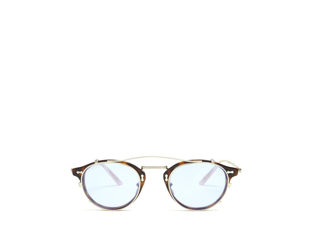 90f27c84d77 Lyst - Gucci Detachable Lens Round Frame Acetate Sunglasses in Brown ...