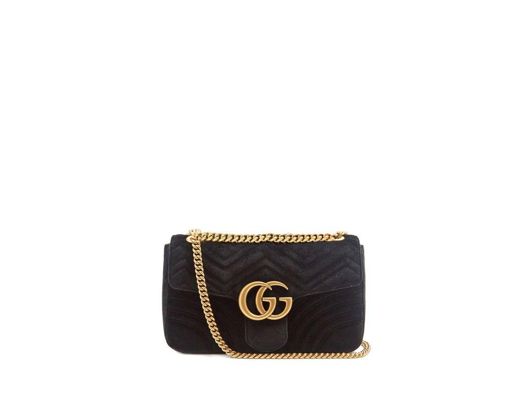 381032d0d0f Lyst - Gucci Gg Marmont Mini Velvet Quilted Shoulder Bag in Black