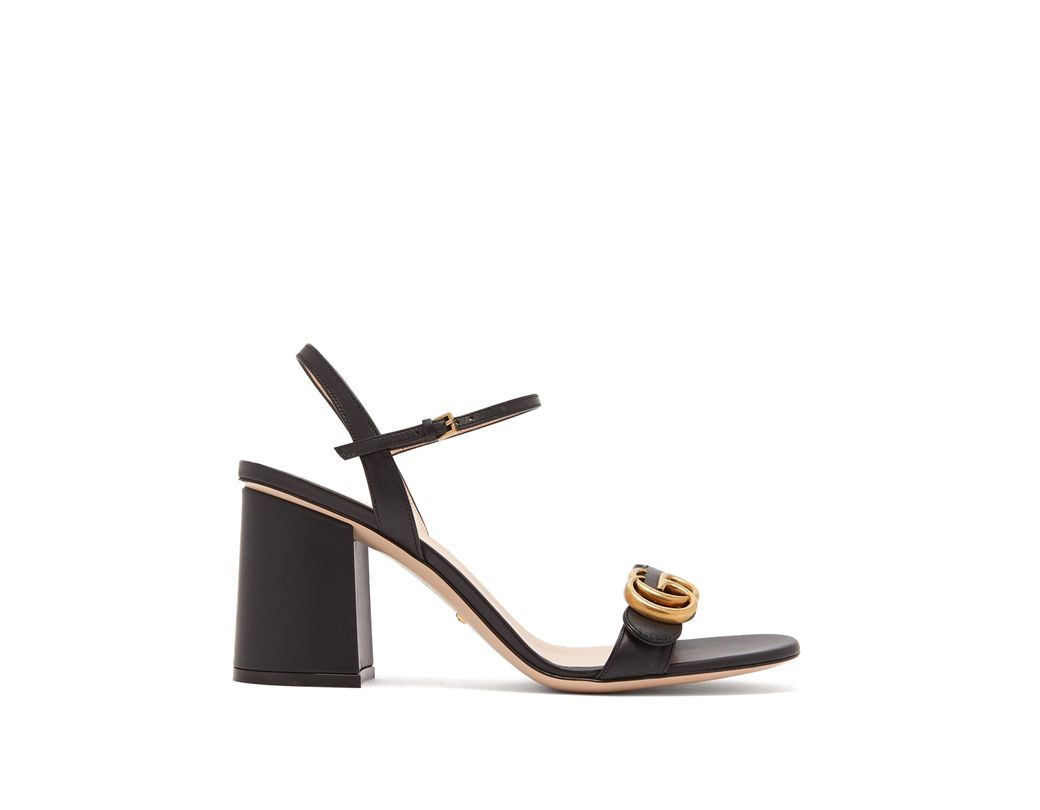 d67d1a994c24 Gucci Marmont Embellished Leather Sandals in Black - Save 10% - Lyst