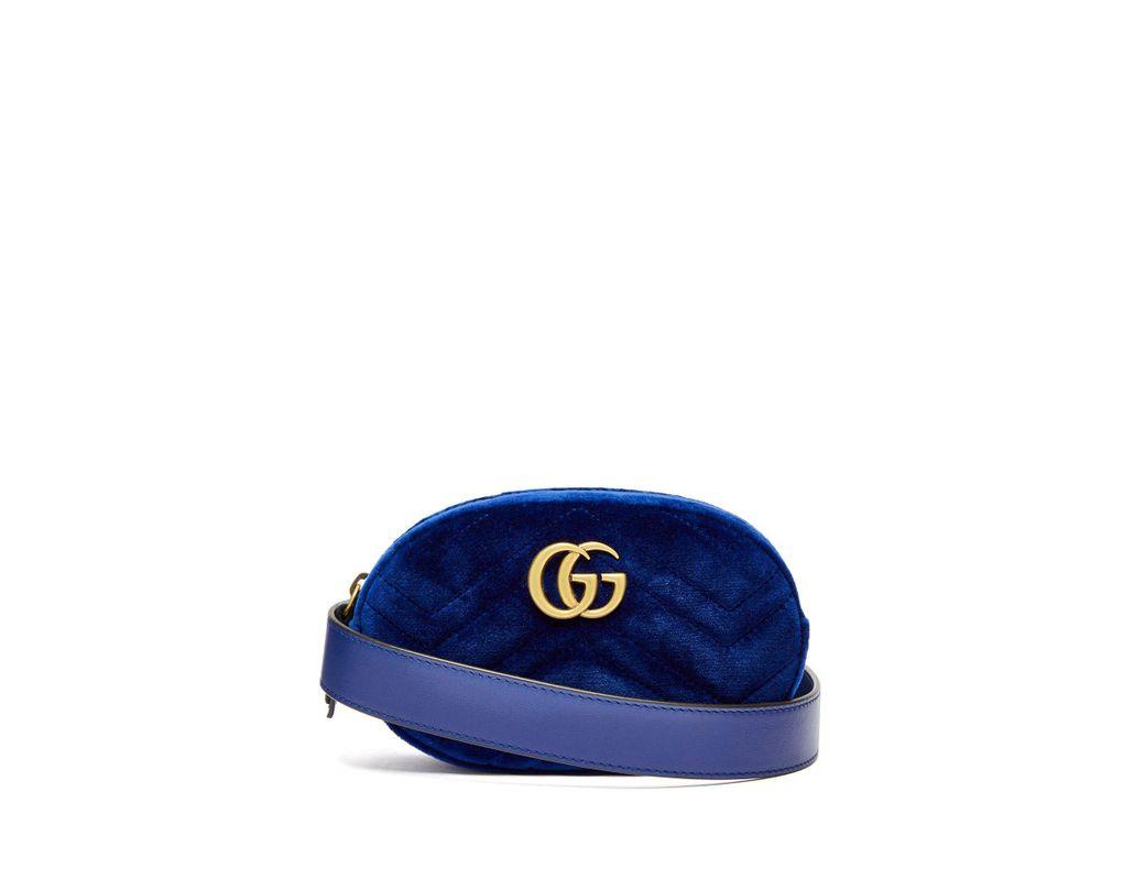 eebe695a84a0 Lyst - Gucci Gg Marmont Velvet Belt Bag in Blue