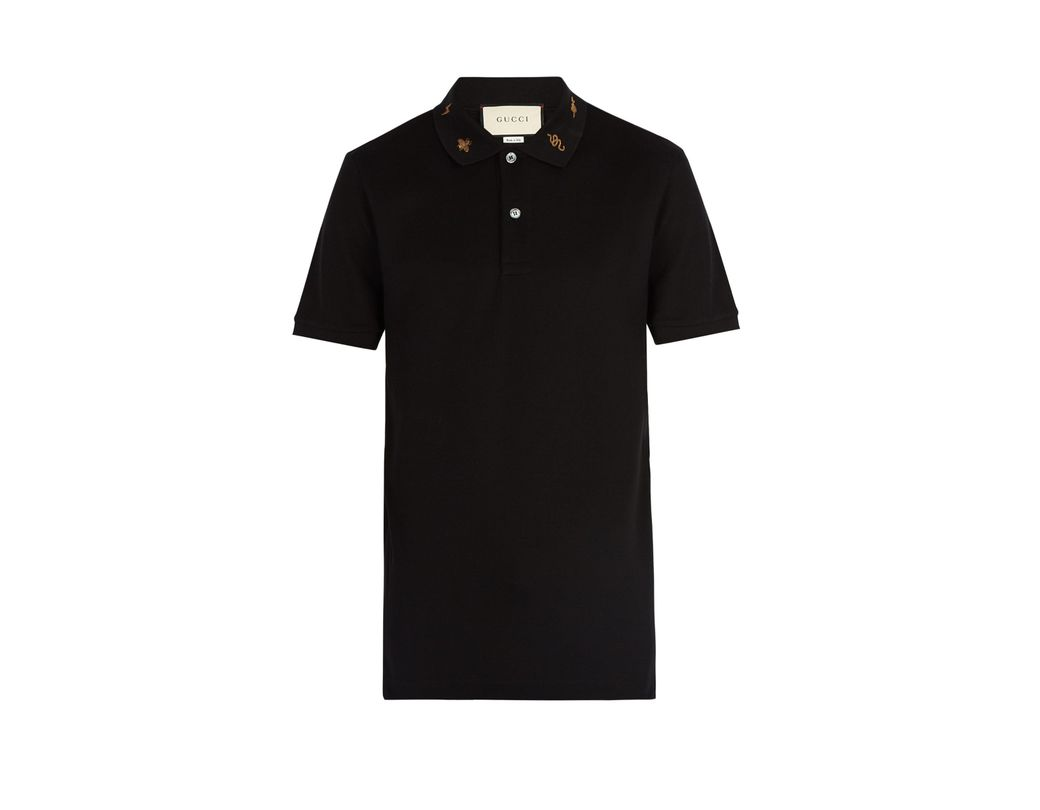 7ae55a76056 Gucci Embroidered Collar Stretch Cotton Polo Shirt in Black for Men ...