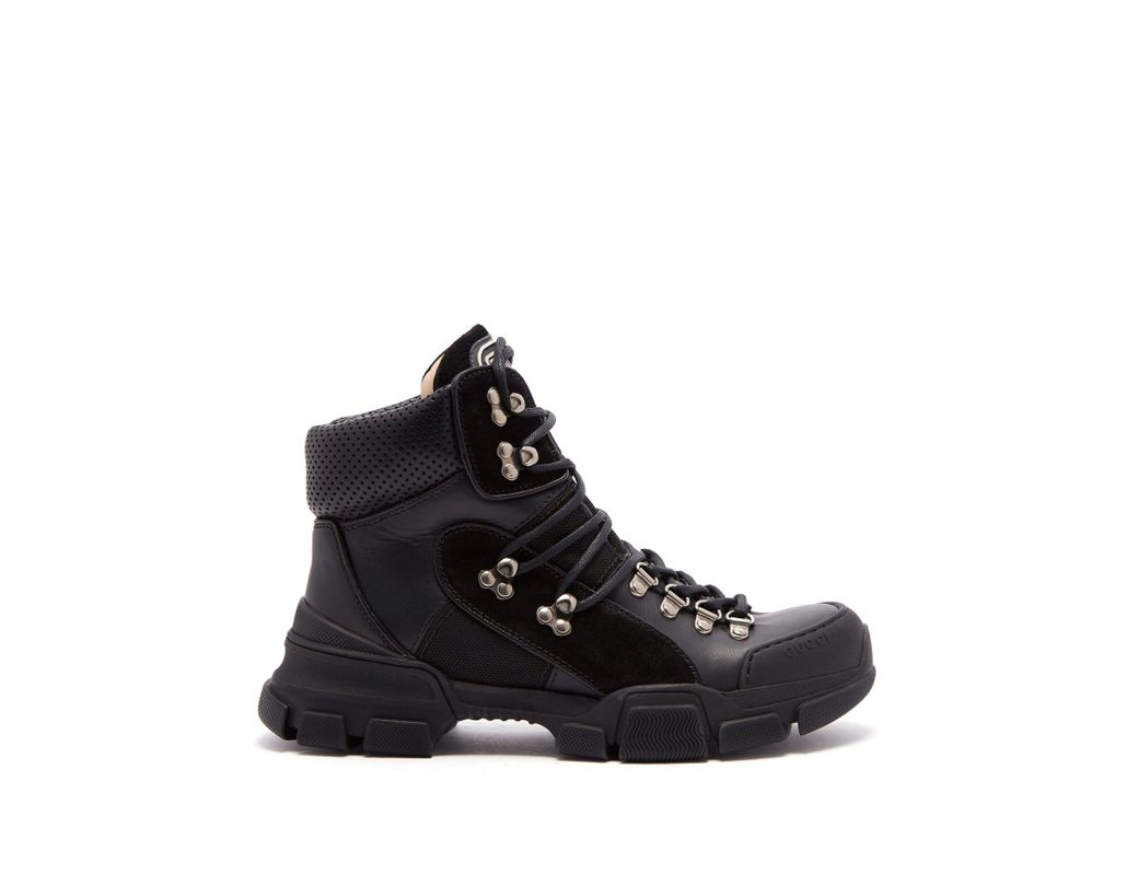 e5f9c38fb9e Lyst - Gucci Flashtrek Leather High Top Trainers in Black