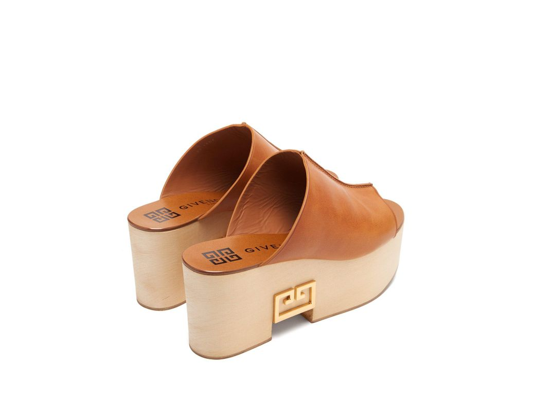 cae779e80b10 Lyst - Givenchy Logo Plaque Platform Leather Mules in Brown - Save 13%