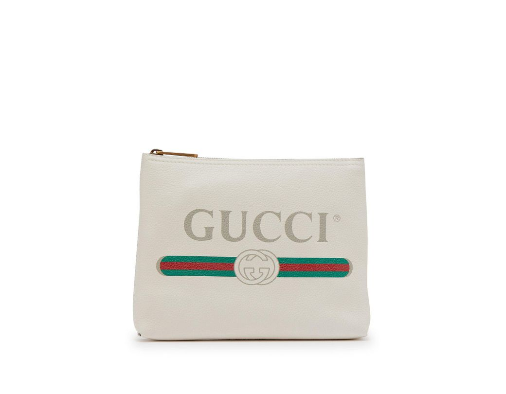 d26aaf63aff Lyst - Gucci Logo Print Small Leather Pouch in White for Men