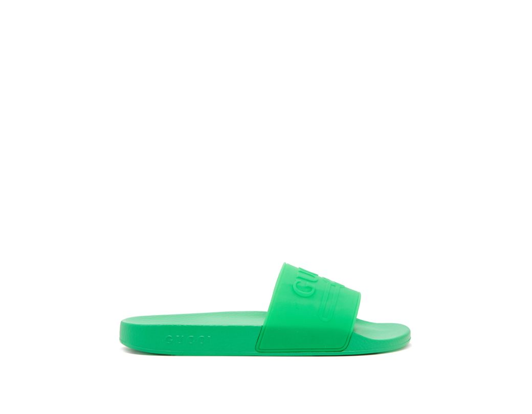 d591ff2a173 Gucci Rubber Slides in Green for Men - Save 30% - Lyst