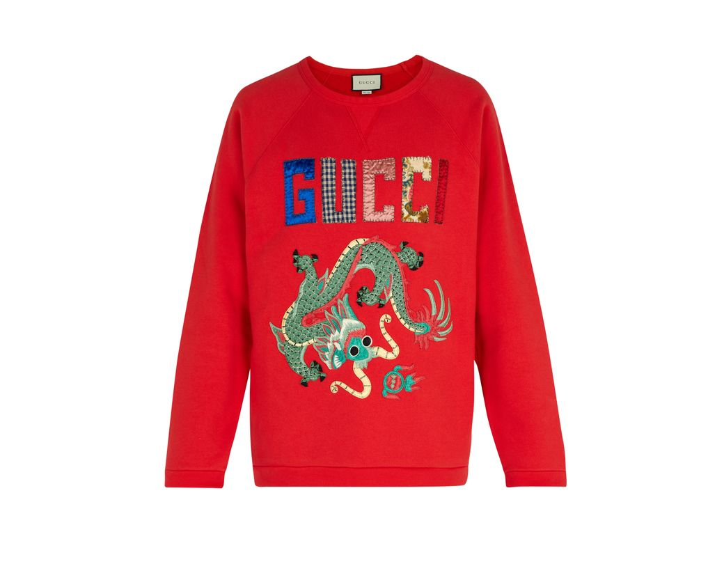 f4baecac2ef Gucci Dragon Appliqué Cotton Sweatshirt in Red for Men - Lyst
