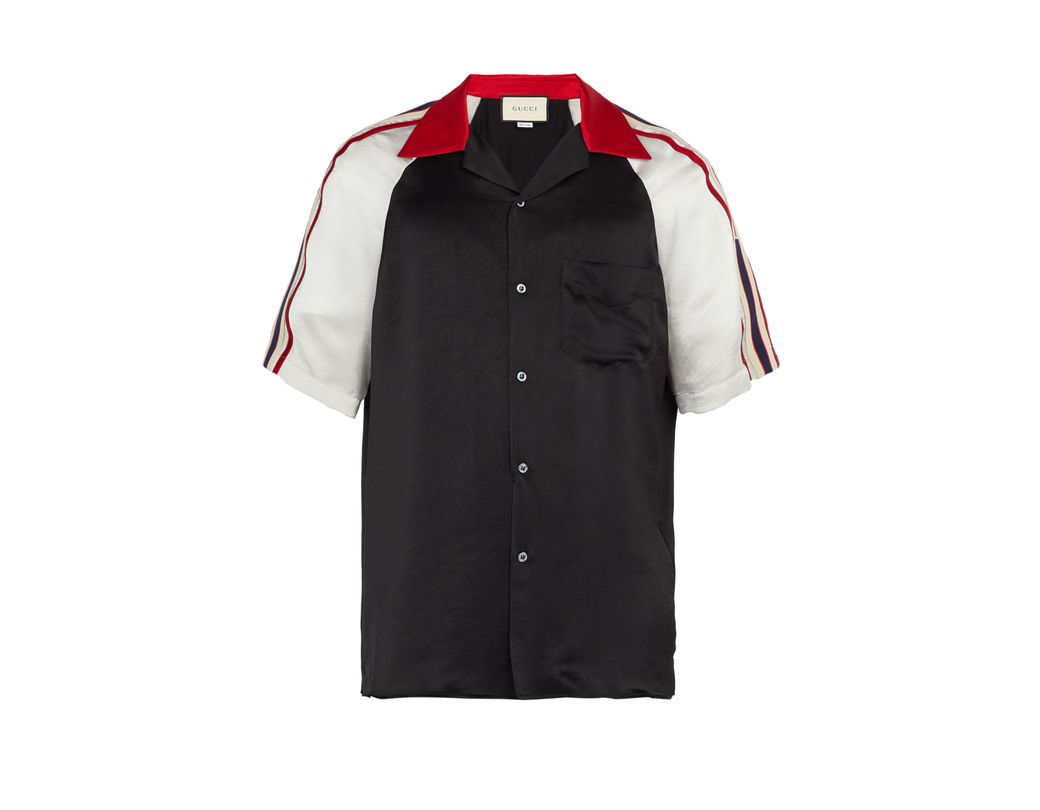 49a9d10aeb0 Gucci Acetate Bowling Shirt With Stripe in Black for Men - Lyst