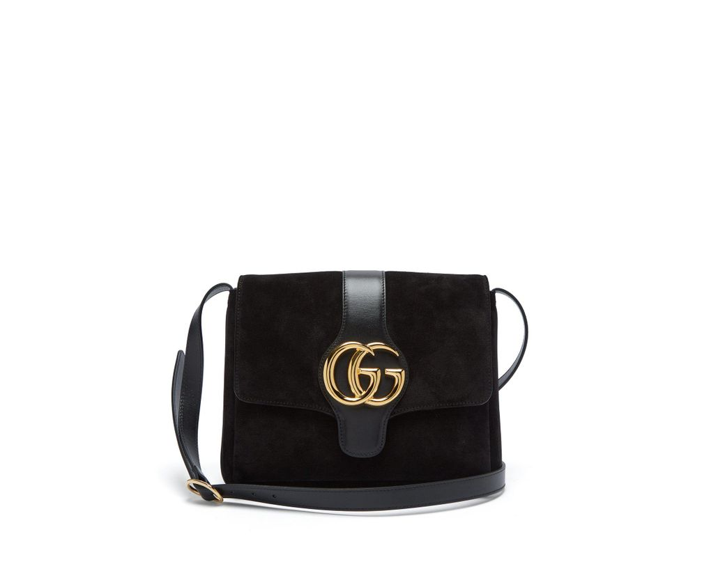 31d02db71a0 Lyst - Gucci Gg Arli Suede And Leather Cross Body Bag in Black