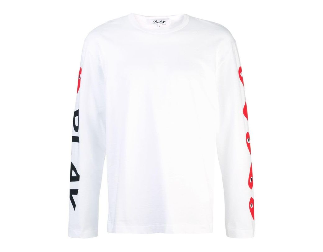 b95ea0ffbec75 COMME DES GARÇONS PLAY White Cotton T-shirt in White for Men - Save ...