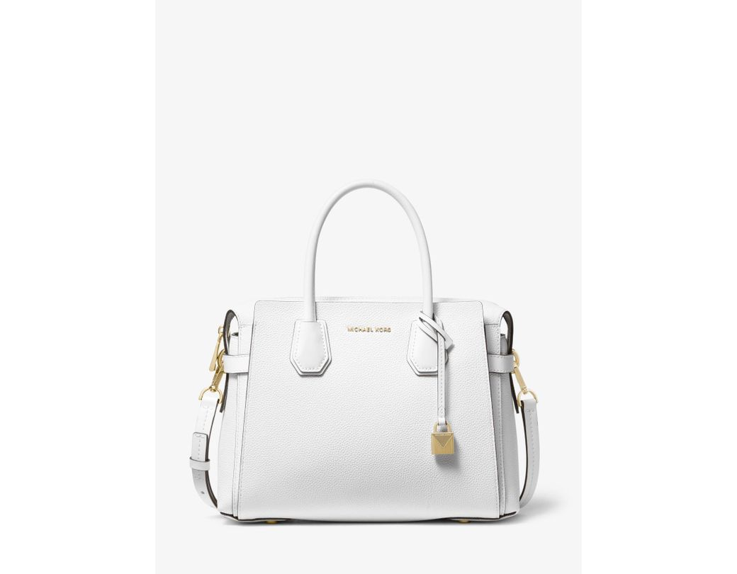 ef84b5aa961b Michael Kors. Women s White Mercer Medium Pebbled Leather Belted Satchel