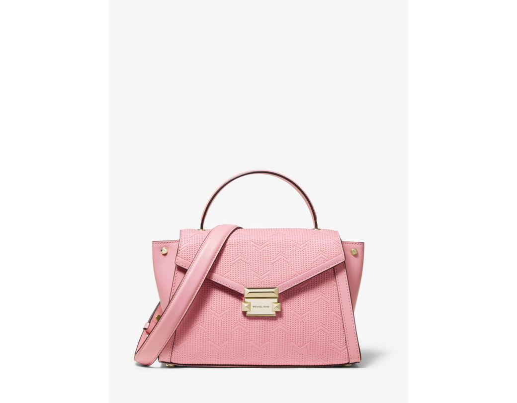 a601d0d4eb92 Lyst - Michael Kors Whitney Medium Deco Quilted Leather Satchel in Pink
