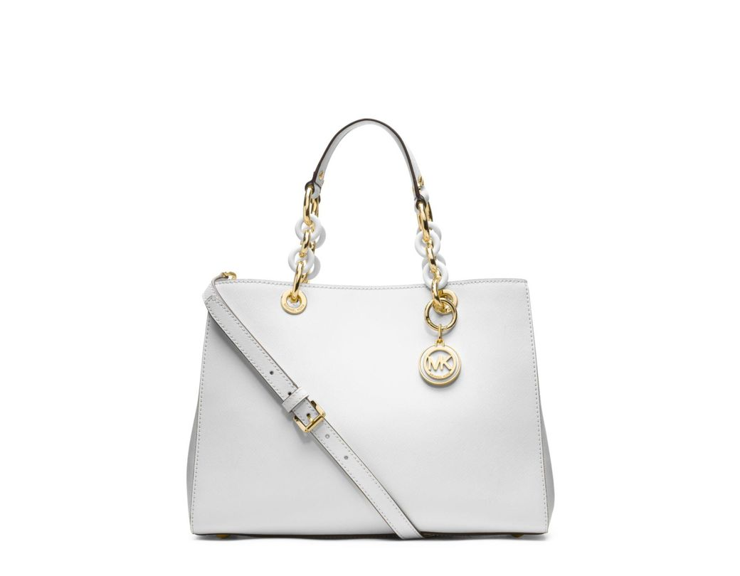 756100724ee5 Lyst - Michael Kors Michael Cynthia Saffiano Leather Satchel in White