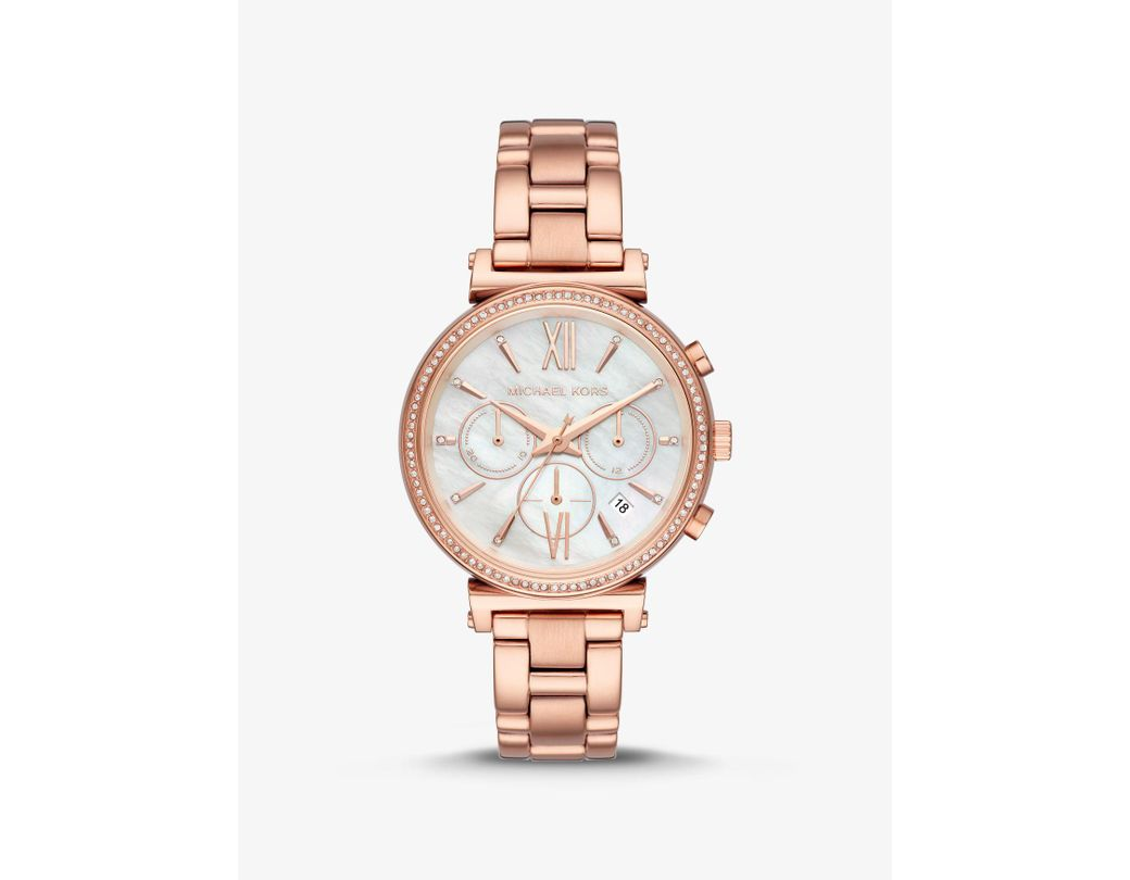 b971c3fe3d5a Lyst - Michael Kors Sofie Pave Rose Gold-tone Watch in Pink - Save 44%