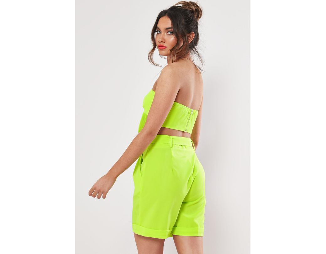b1e6eb6ec615 Missguided Lime Belted Turn Up Co Ord Shorts in Green - Lyst