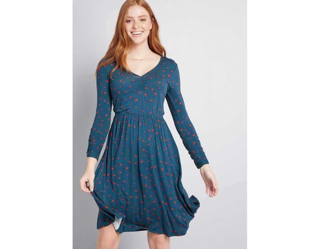 fdcdafe732 Lyst - ModCloth Comfortably Curious Long Sleeve Dress in Blue