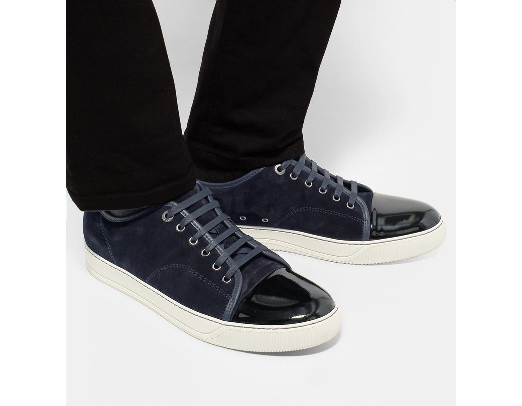 8f59179b5bf9d Lanvin Cap-toe Suede And Patent-leather Sneakers in Blue for Men - Lyst