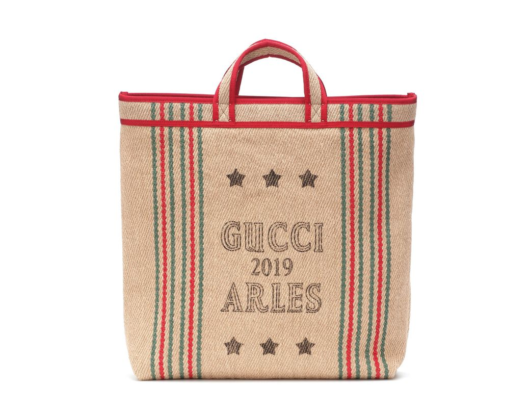 cb9cc3c9096 Lyst - Gucci Printed Jute And Linen Tote