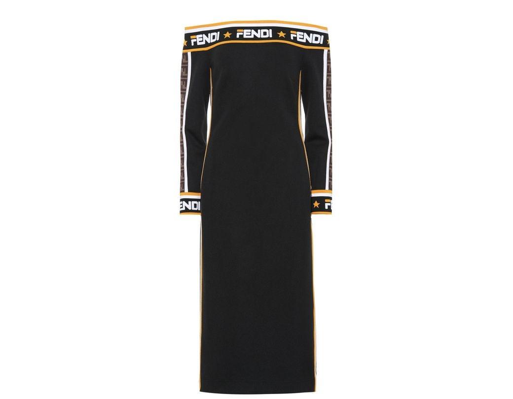 fe6c3eb4a6dd Lyst - Fendi Mania Jersey Midi Dress in Black