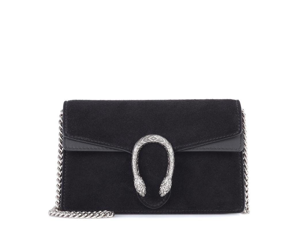 770a0f2312a Gucci Dionysus Suede Super Mini Bag in Black - Save 1% - Lyst
