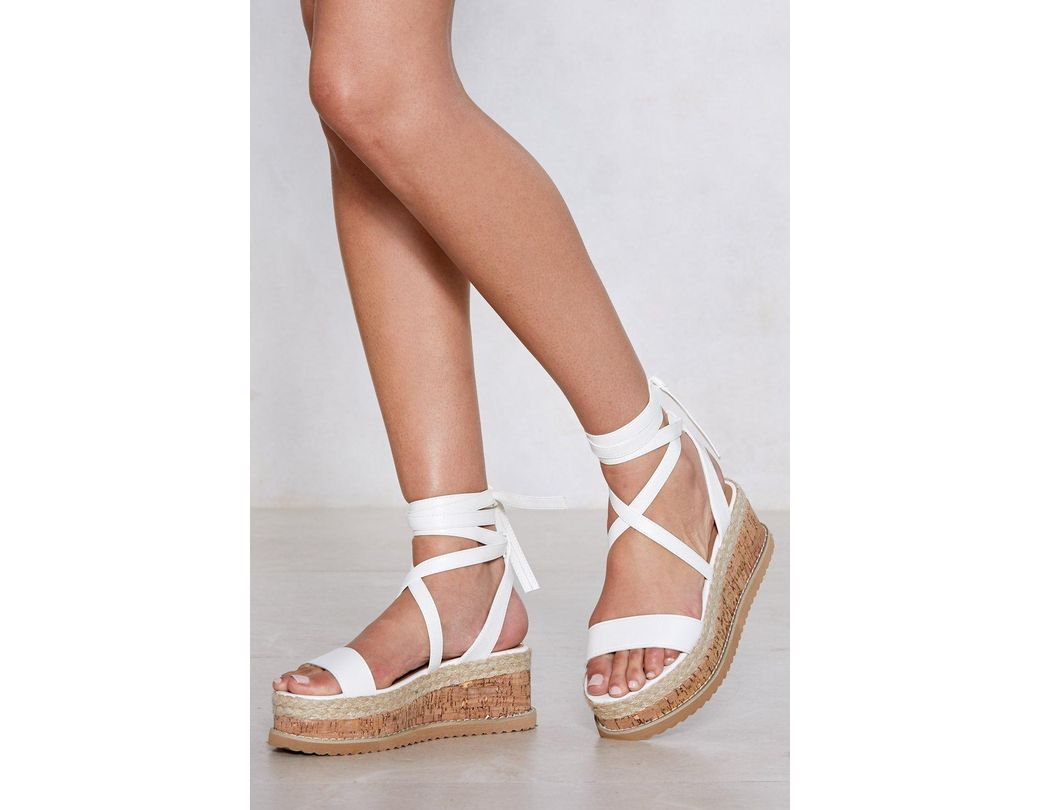 6989bc66d Lyst - Nasty Gal Enough With The Cork Platform Sandal in White ...