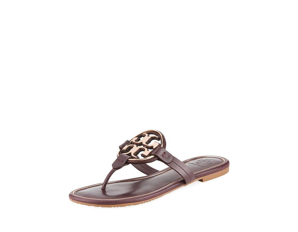 96f41f267 Lyst - Tory Burch Miller Flat Metal Logo Slide Sandals in Brown ...