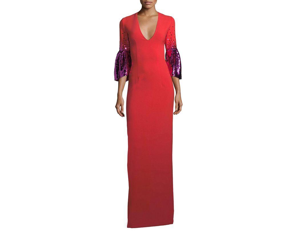 9fce756cb0 Sachin & Babi. Women's Pink Byzas Sequin Bell-sleeve V-neck Column Dress