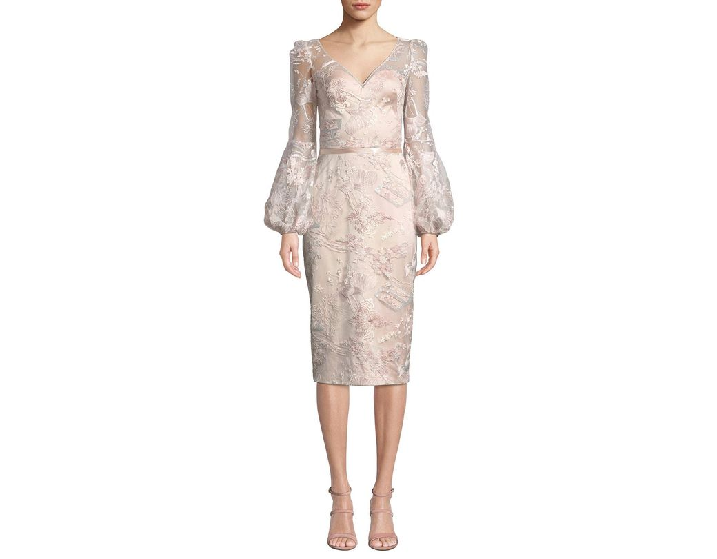 2377f3af5112 THEIA. Women's V-neck Lantern-sleeve Sequin Embroidered Lace Illusion Dress
