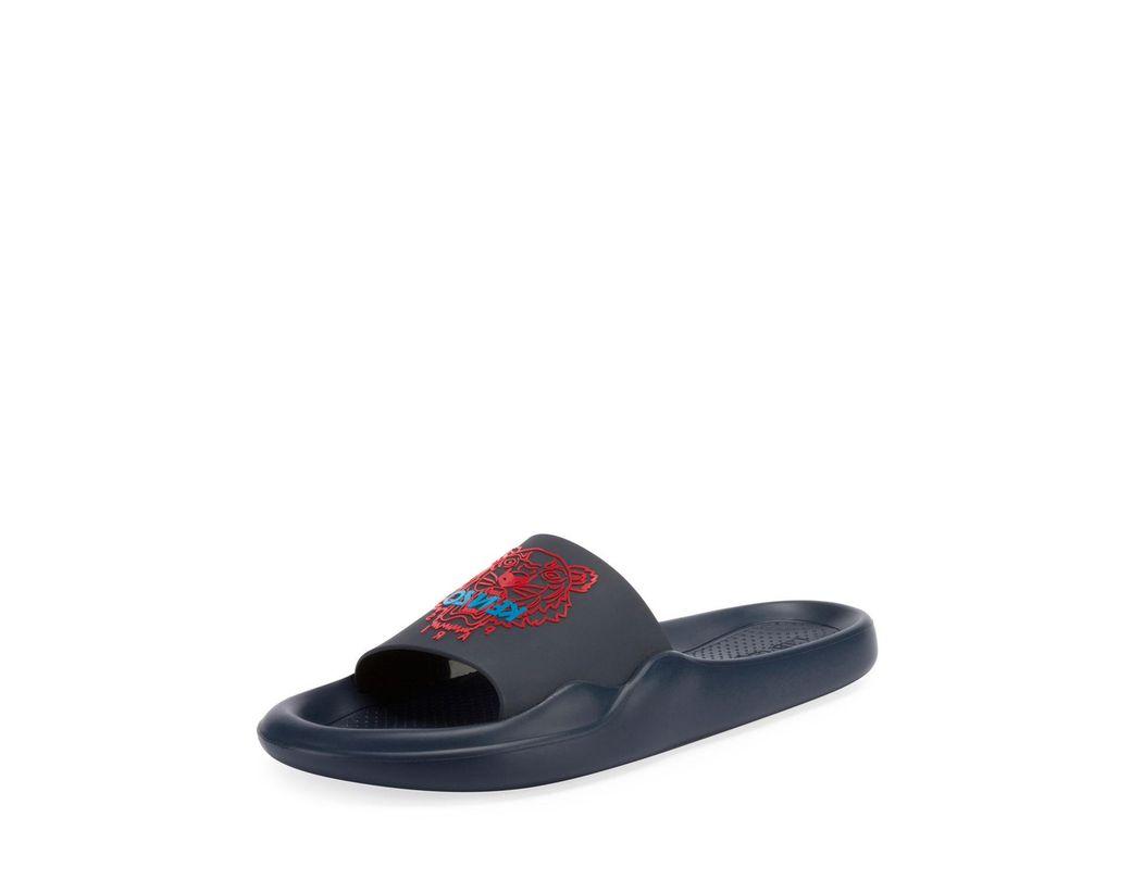 55cffe3b7d37 Lyst - KENZO Men s Logo Eva Pool Slide Sandals in Blue for Men - Save 50%